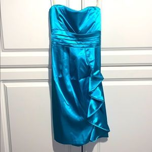 Sequin Hearts Strapless dress Teal-Blue sz 5 NWT